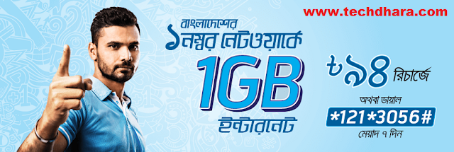 GP 1GB data at Tk. 94 for 7 days