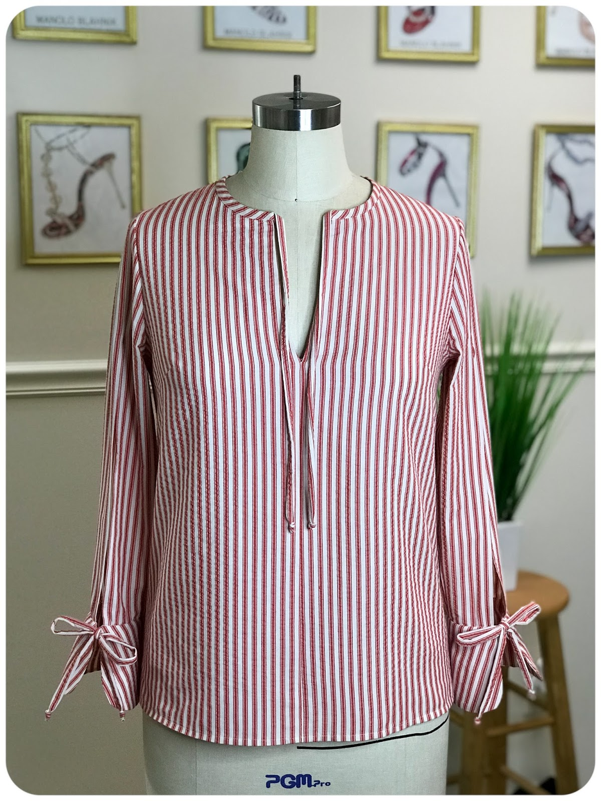 Simplicity 8455 | Red Ticking Stripe Cotton Seersucker Top -- Erica Bunker DIYStyle!