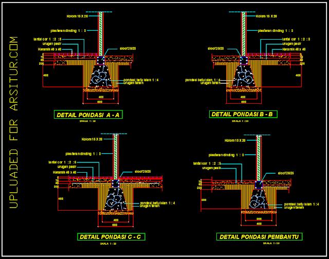 Detail Pondasi Menerus - Contoh Gambar AutoCAD