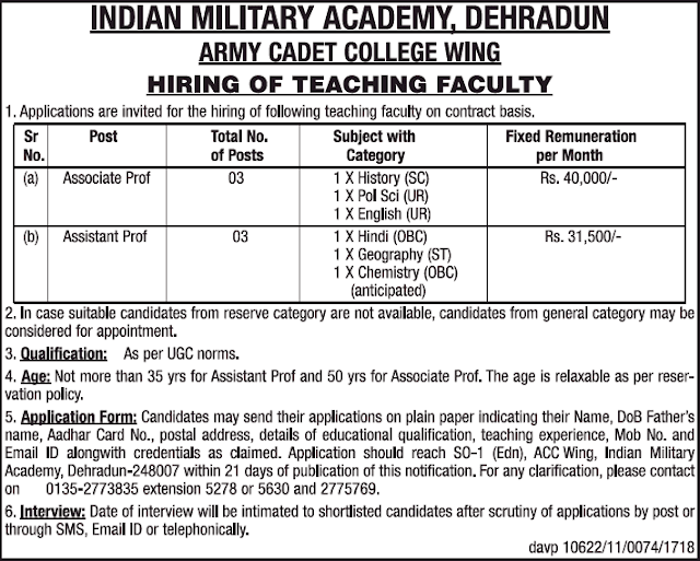 Faculty vacancy IMA Dehradun