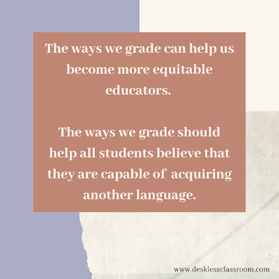 Text reads: the ways we grade can help us become more equitable educators. The ways we grade should help all students believe that they are capable of acquiring another language. Text is beige on a terracotta and lavender background.