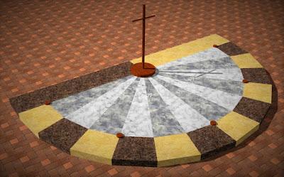 """O relógio * solar cristão nos lembra: """"O tempo de Deus não é igual ao nosso."""" (* criado por Jean Tosetto)"""