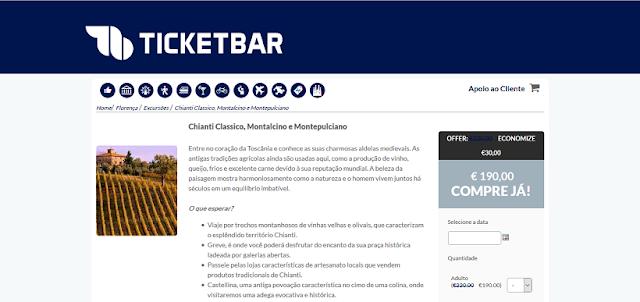 Ticketbar para ingressos para um tour por Chianti, Montalcino e Montepulciano