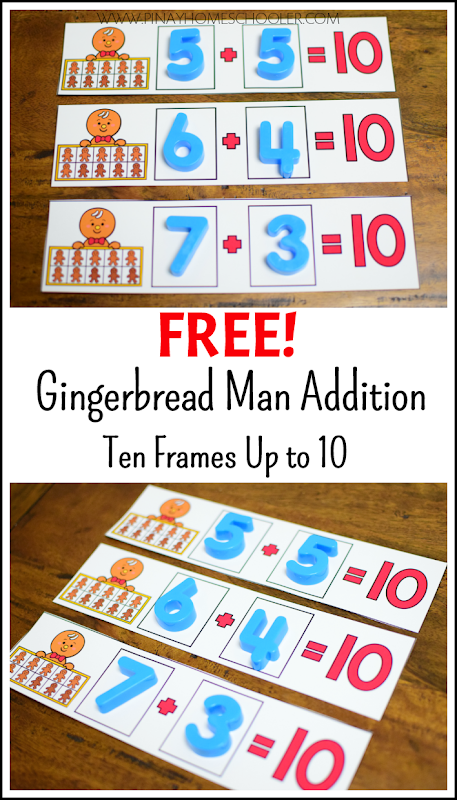 FREE Gingerbread Man Addition to 10 Ten Frames