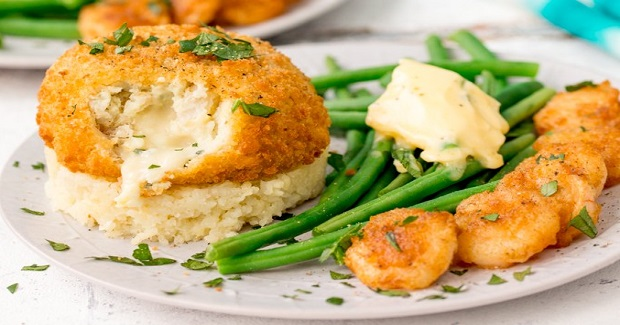 Saucy Fish Co. Fishcakes With Cheesy Mash And Crispy Garlic Prawns Recipe