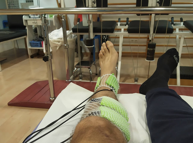 Rehabilatació, cama esquerra, electro estimulació