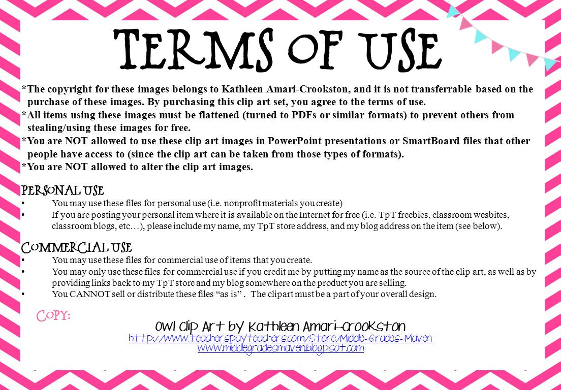 Terms Of Use >> Middle Grades Maven: Colorful Banners and Freebies!