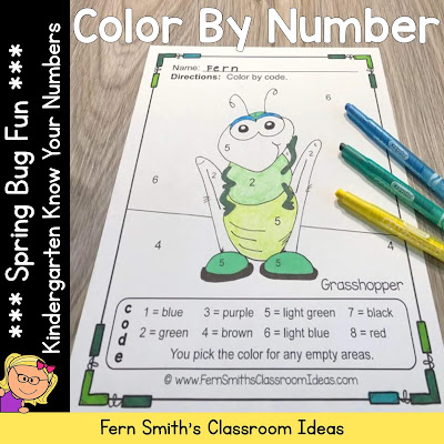 Spring Color By Number Kindergarten Know Your Numbers