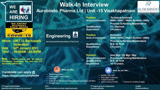 Aurobindo Pharma | Walk-in interview for Multiple positions in Engg on 24th Jan 2021