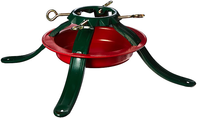 red green steel Christmas tree stand