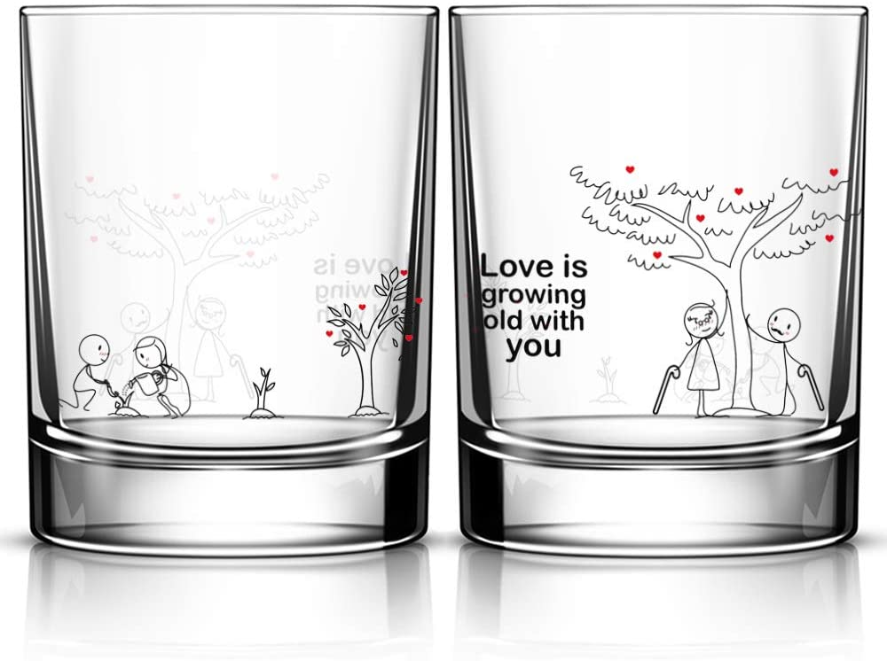 Grow Old With You Drinking Glasses