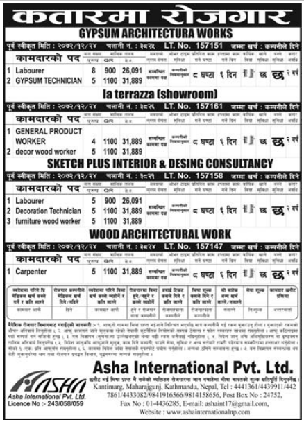Jobs For Nepali In Qatar, Salary -Rs.31,889/