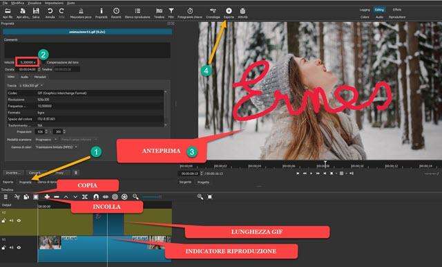 cambiare la velocità e la lunghezza della GIF