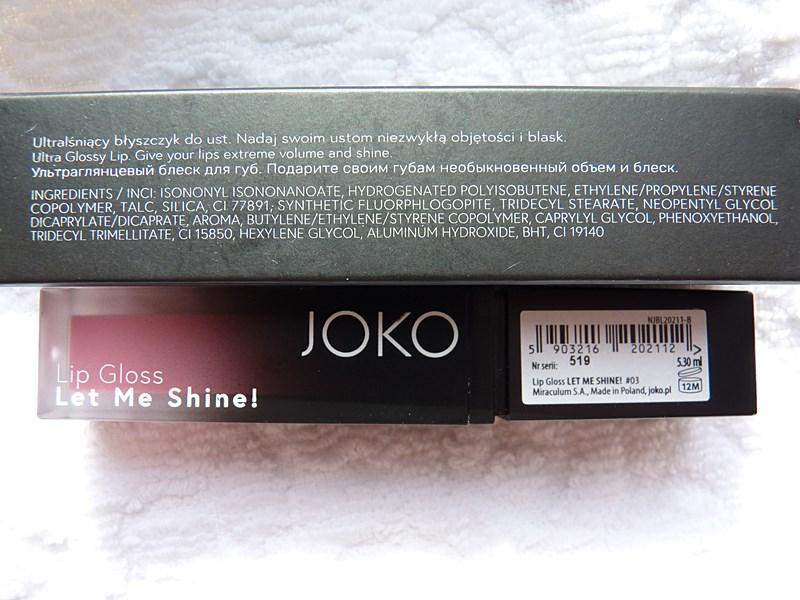 JOKO Lipgloss Let me shine inci ingredients