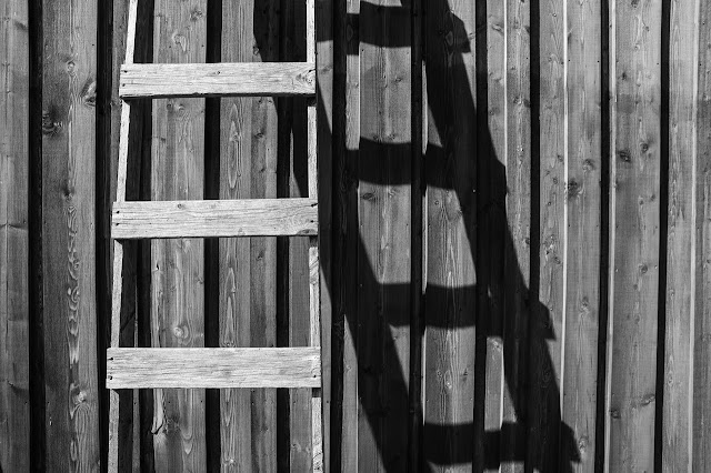 Ladder leaning against the wall