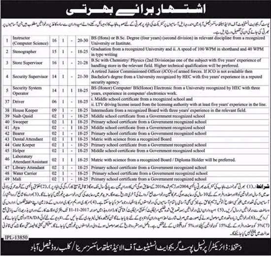 Jobs in Post Graduate Institute Of Allied Health Sciences Faisalabad October 2017.