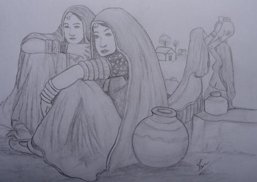 Desi village women sketc