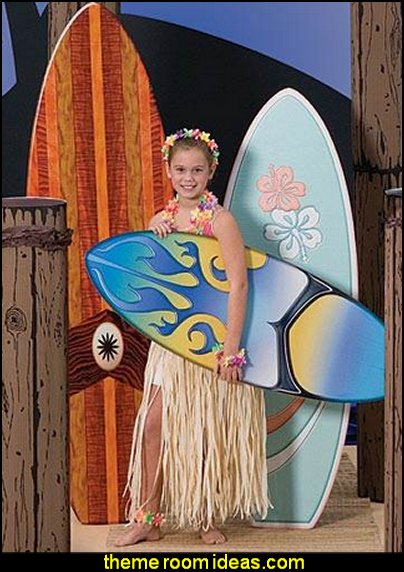 Surf Board Standees party props  Tropical party decorations - tropical party ideas - ALOHA Hawaii Luau Party Decorations - Luau Hawaiian Grass Table Skirt raffia Decorations - Hula Hibiscus Tropical Birthday Summer Pool Party Supplies - tiki party pineapple party decorations - beach party - Birthday party  photo backdrop - tropical themed cake decorations - beach tiki themed table decorations -  party props - summer party