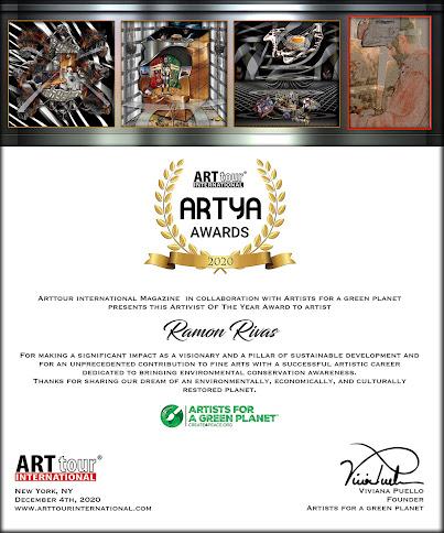 """Certificado del Premio ARTYA 2020 y las obras de Ramón Rivas, presentadas en la edición de la revista """"Artistas por un Planeta Verde"""""""
