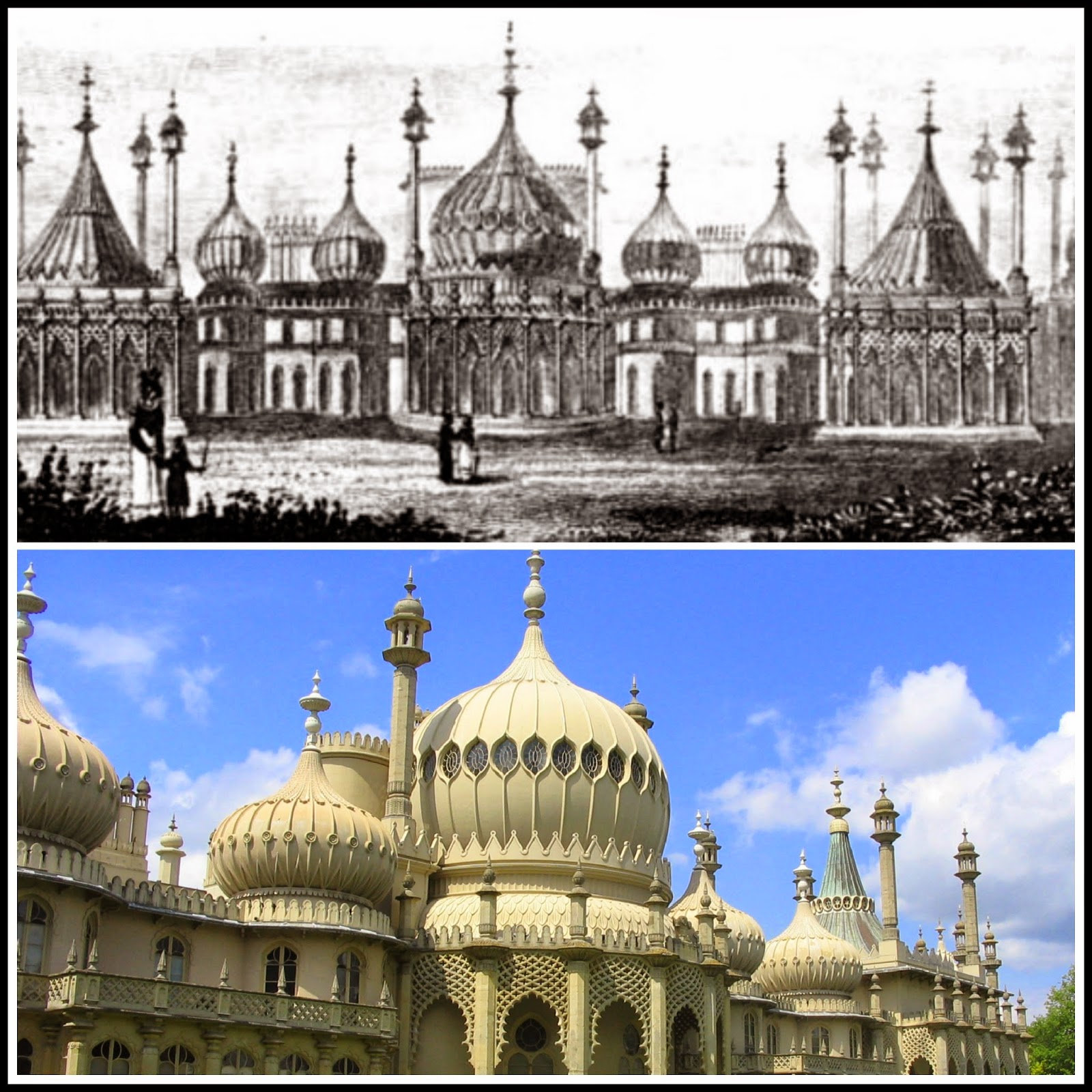 Brighton Pavilion  Top: From History of Brighton and its environs by R Sickelmore (1827)  Bottom: Brighton Pavilion today © Andrew Knowles