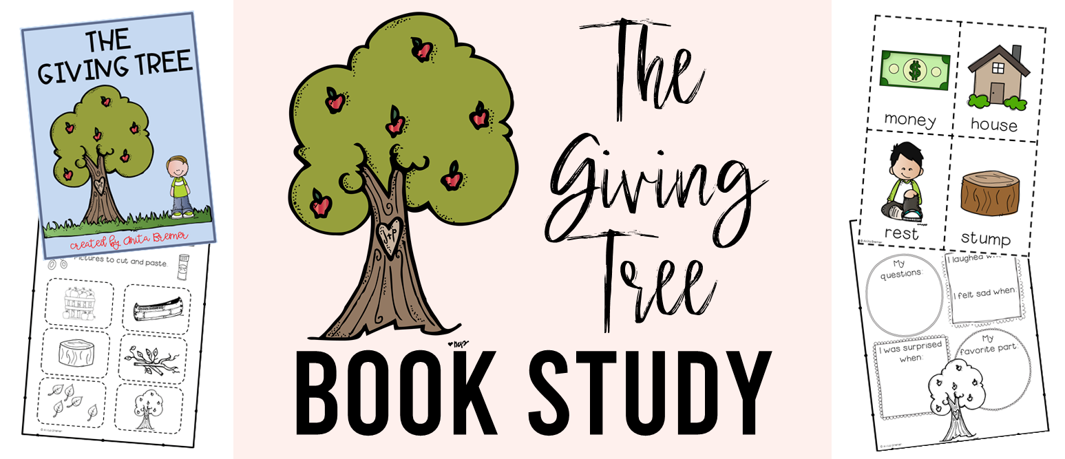 The Giving Tree book study companion activities to go with the picture book by Shel Silverstein. Perfect for whole class guided reading, small groups, book study groups, or individual student learning. Packed with lots of fun literacy ideas and guided reading activities. Common Core aligned. K-2 #bookstudies #bookstudy #bookcompanion #bookcompanions #picturebookactivities #1stgrade #2ndgrade #literacy #guidedreading  #givingtree