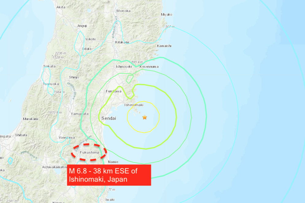 A TICKING TIME BOMB! Another near miss! On the 10th anniversary of the 2011 Fukushima disaster a second major quake, a mag 6.8 rocks the stricken nuclear plant just three months after a mag 7.0 rocked the same area in February