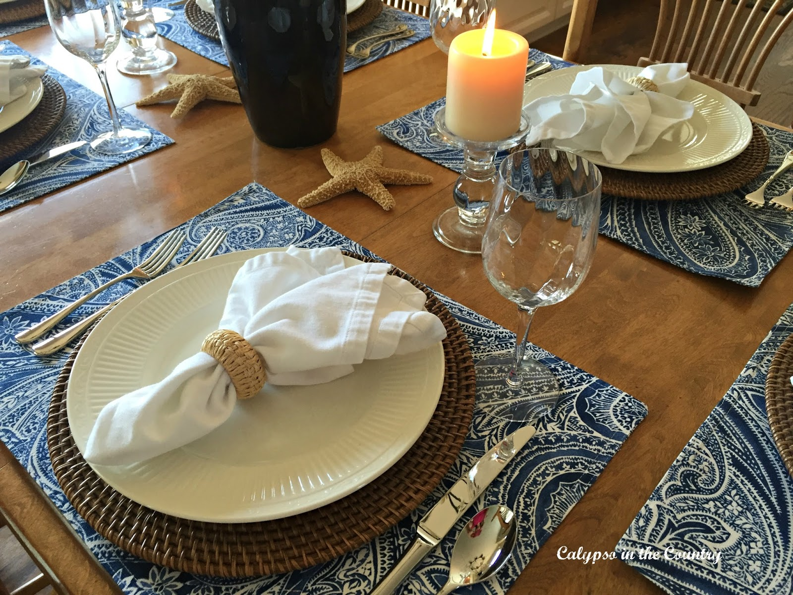 Summer Inspired Kitchen Table Setting using blue and white with a coastal touch