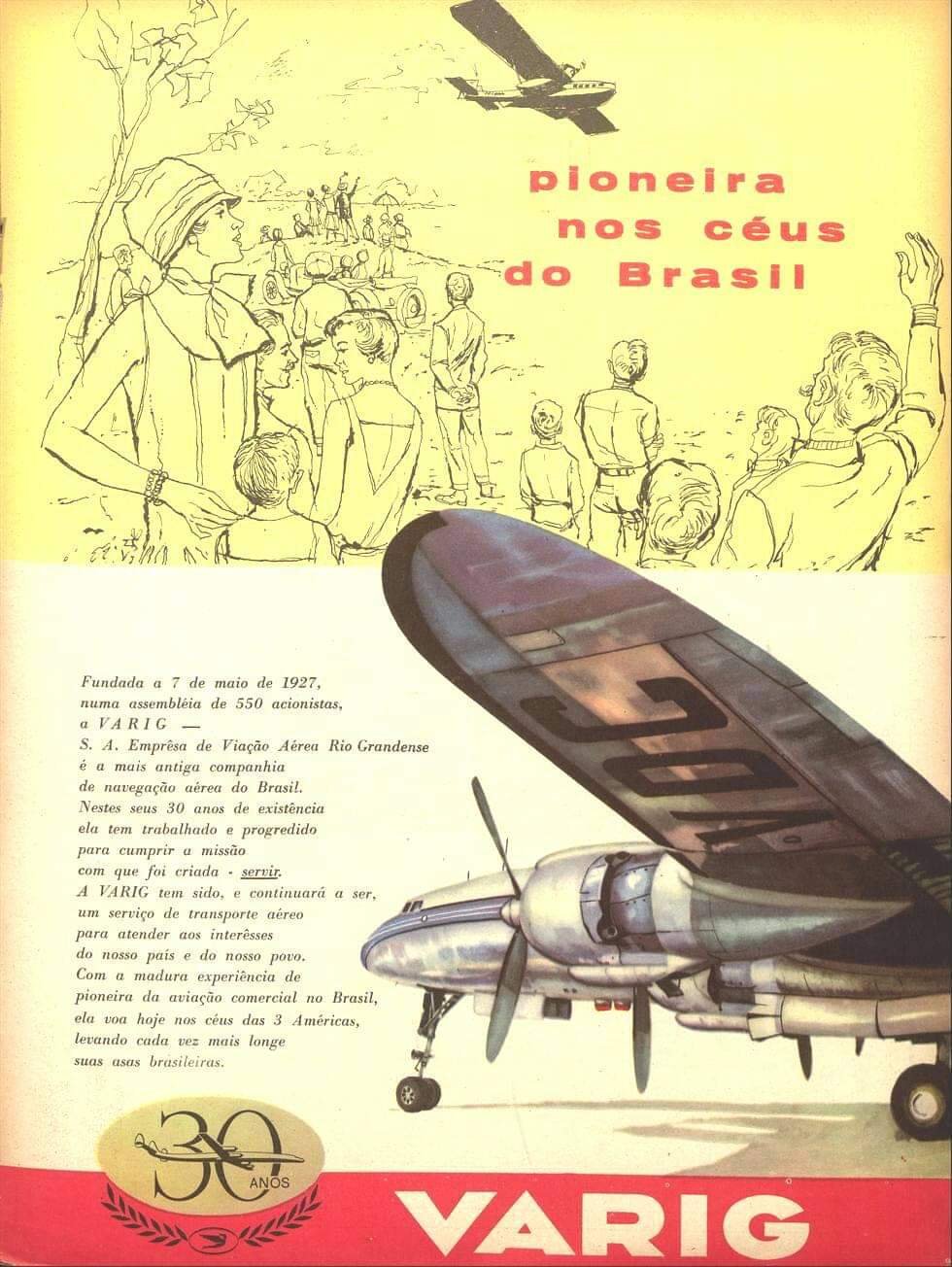 Propaganda antiga da Varig em comemoração aos 30 anos de atividade no Brasil