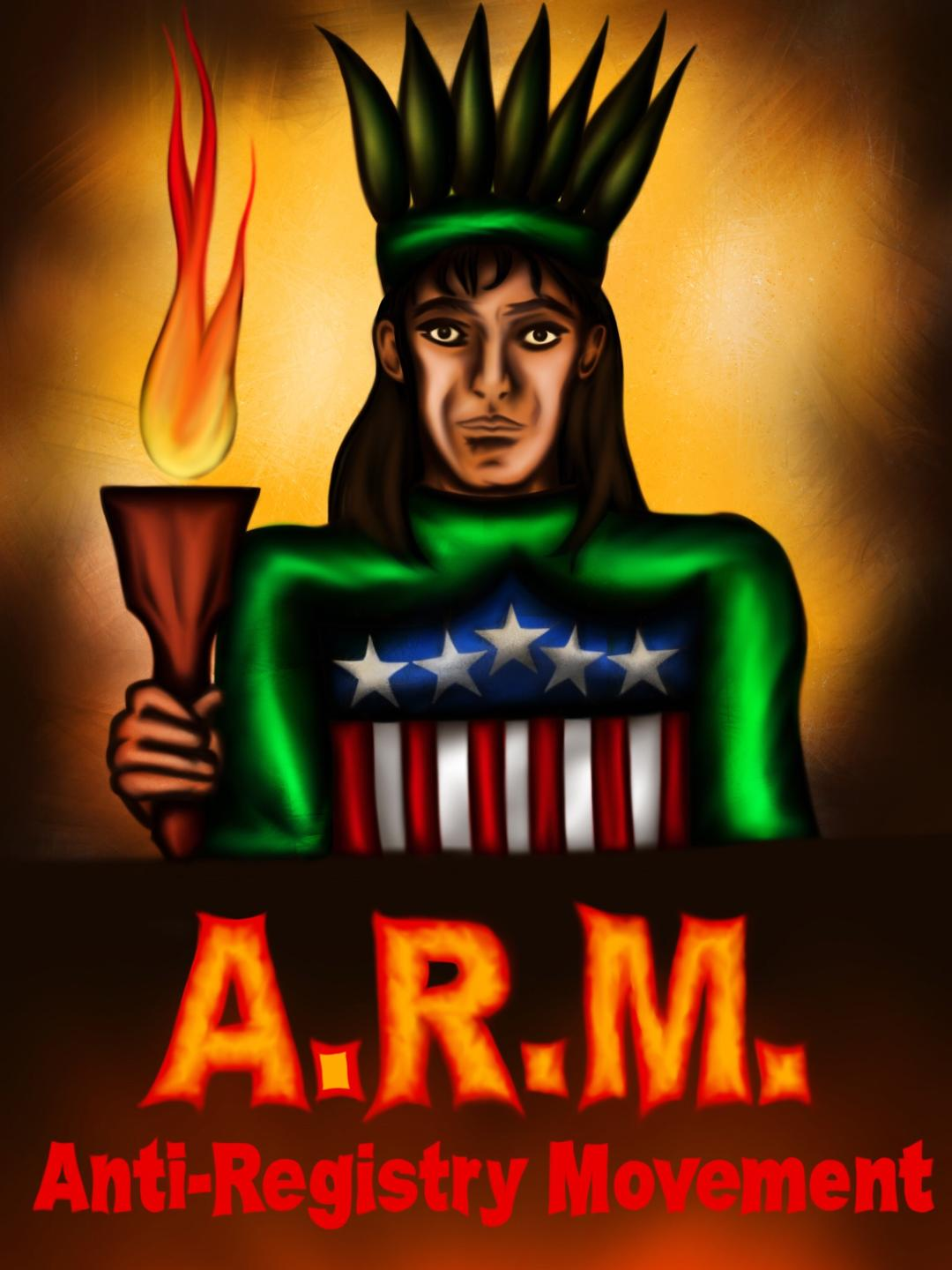 Created by: Anonymous, NY About: The ARM Logo is a take on the Statue of  Liberty with the torch forming a flaming sword and a shield.