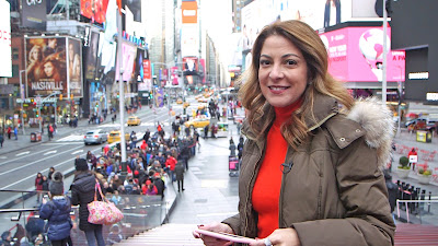 Ana Paula Padrão em Nova York durante gravação do programa sobre redes sociais - Divulgação/Band