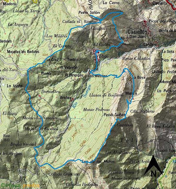map IGN de la ruta señalizada a Peña Subes, Sen de los Mulos y Peña Salón desde Víboli