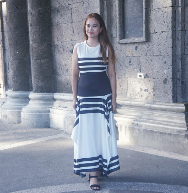 black and white dress maxi