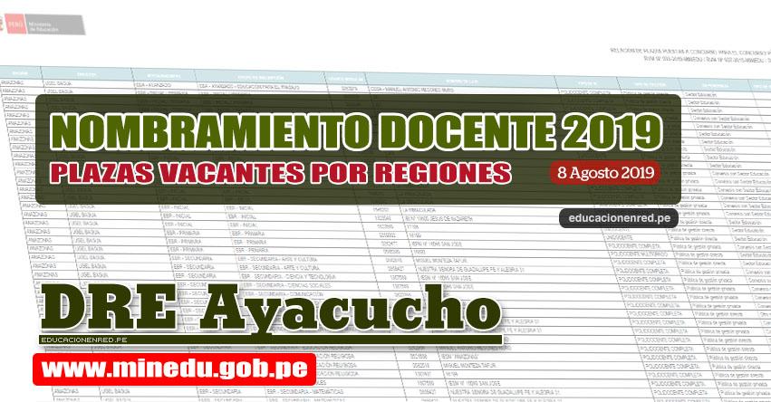 DRE Ayacucho: Relación Final de Plazas Vacantes para Nombramiento Docente 2019 (.PDF ACTUALIZADO 8 AGOSTO) www.dreayacucho.gob.pe