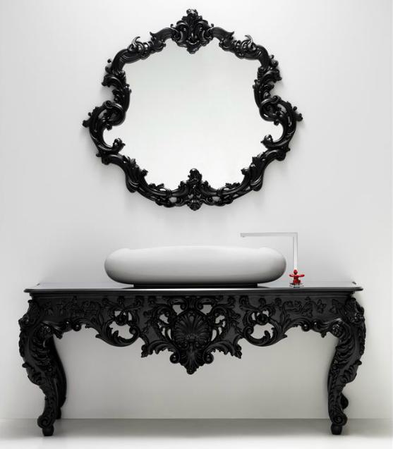 Antique Round Black Foundry Mirror Living Room