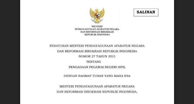 Download Permenpan RB Nomor 27 Tahun 2021 tentang Pengadaan Pegawai Negeri Sipil PDF Resmi