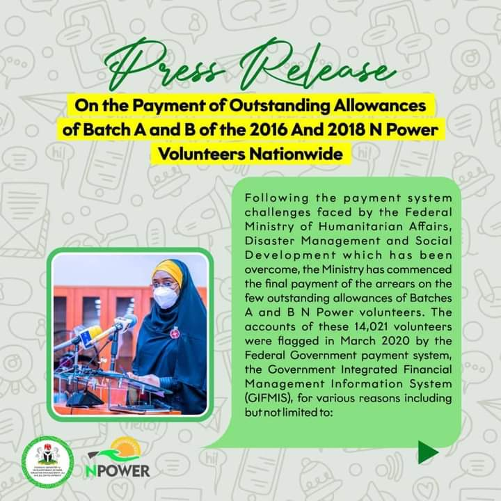 Good News To Batch A and B: FG commences payment of outstanding allowances of 2016, 2018 volunteers