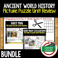 Ancient World History Test Prep, Picture Puzzles, Unit Review,  Early Man, River Valley Civilizations, Ancient Greece, Ancient Rome, Ancient China, Asian Empires, African Kingdoms, Aztec, Inca, Maya, Middle Ages, Renaissance, Reformation, Explorers