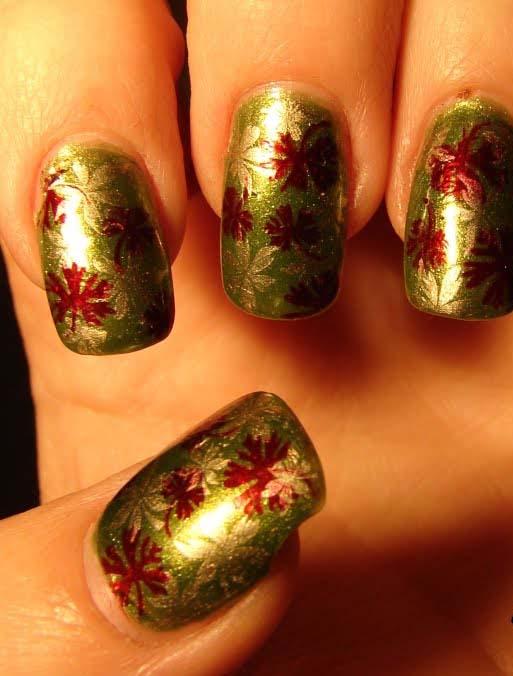 Indian Nail Art Polish : Black and Red Leaf Nail Designs