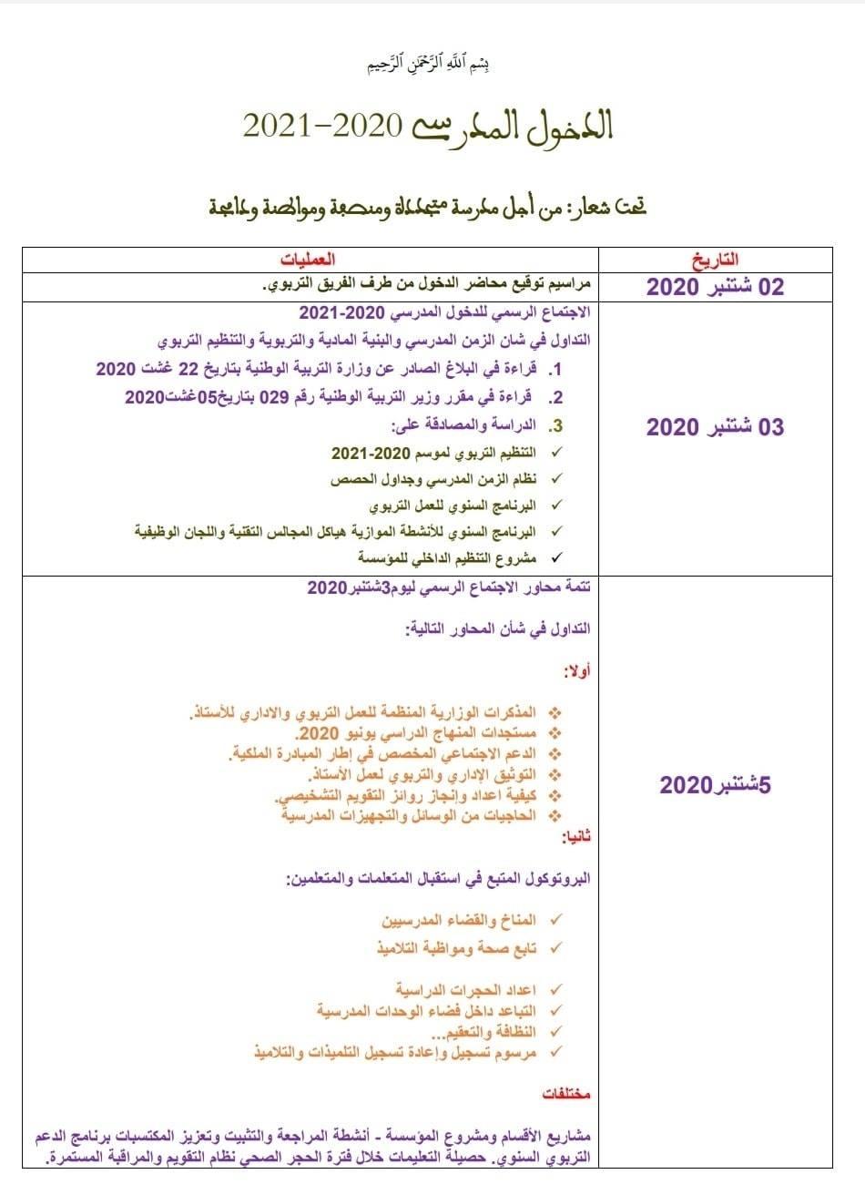 نموذج مذكرة يومية للدخول المدرسي للاستئناس