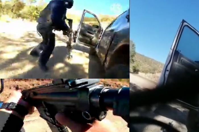 """Video: """"Ya me volaron el pinc... casco... allá están, allá están... Órale, bájenle cabro...nes"""", emboscada de Sicarios a Estatales en Madera, Chihuahua"""
