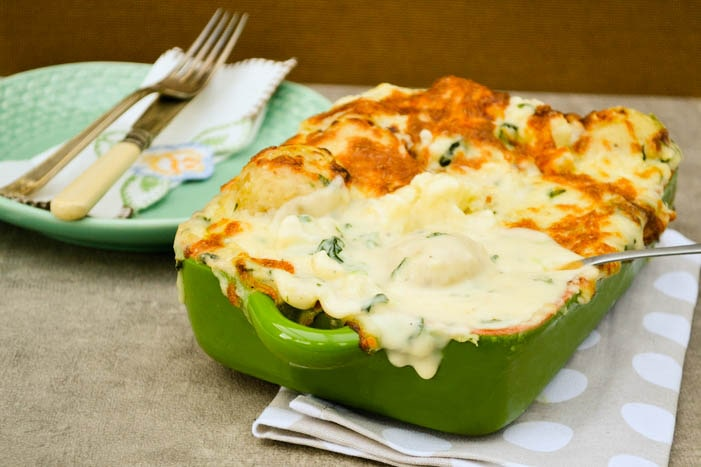 Cheesy Cauliflower and Potato Bake with Spinach