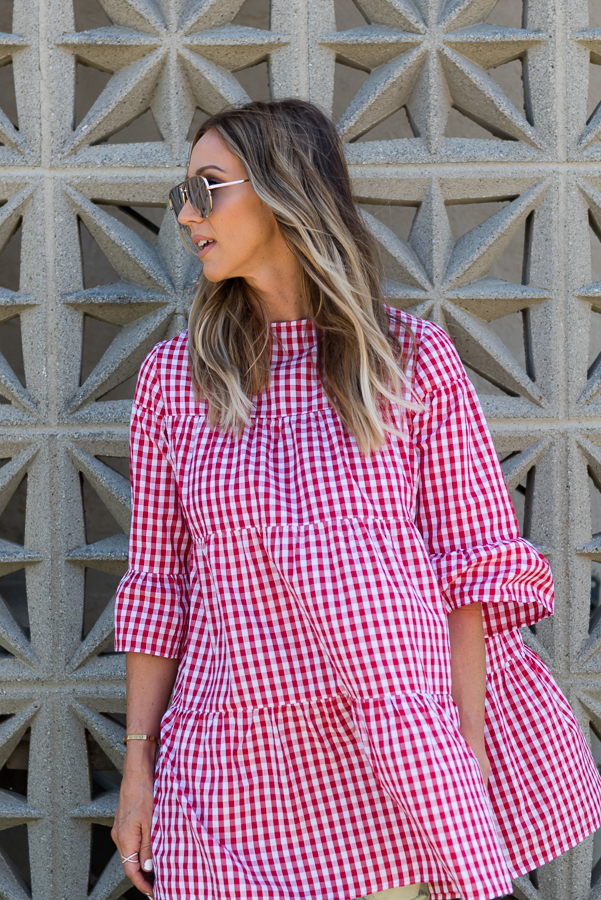 red and white gingham tiered dress parlor girl