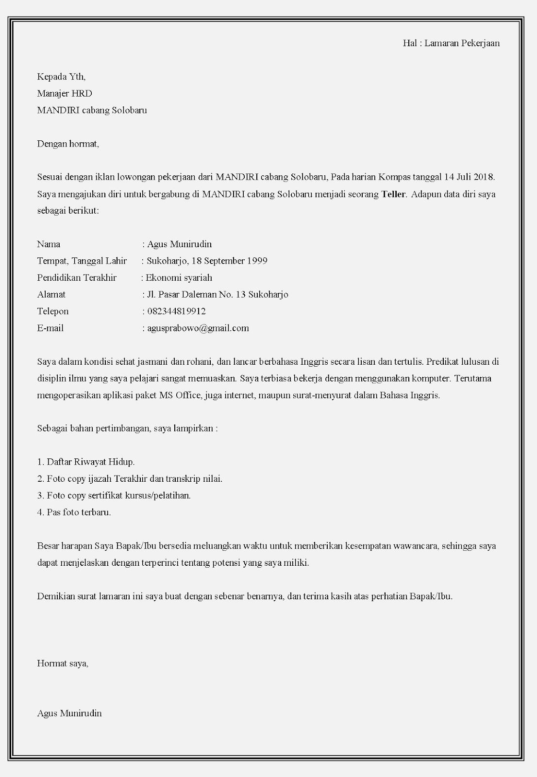 Contoh surat lamaran kerja di bank Mandiri sebagai teller