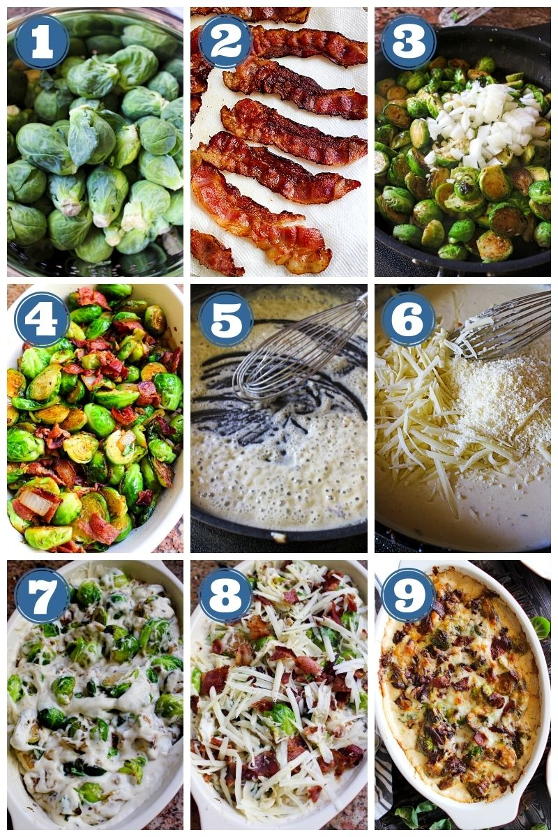This Brussels Sprouts and Bacon Casserole is loaded with crumbled bacon and smothered in a luscious cheese sauce. It's the perfect holiday side dish! #brusselssprouts #casserole #sidedish