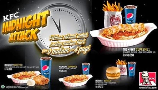 Harga Promo KFC Midnight Attack, Paket Menu KFC Midnight Attack Promo, brosur kfc, Harga Menu KFC Indonesia 2014, kfc attack,