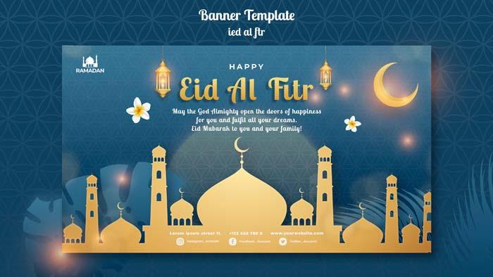 Eid Al Fitr Horizontal Banner Template