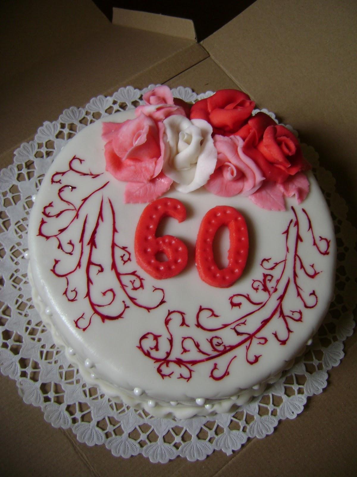 születésnapi torta 60 Judit tortácskái: Rózsás   indás születésnapi torta 60