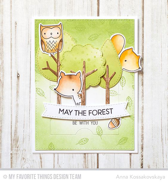 Three Woodland Creatures Card by Anna Kossakovskaya featuring Forest Friends stamp set and Die-namics and Blueprints 28 Die-namics #mftstamps