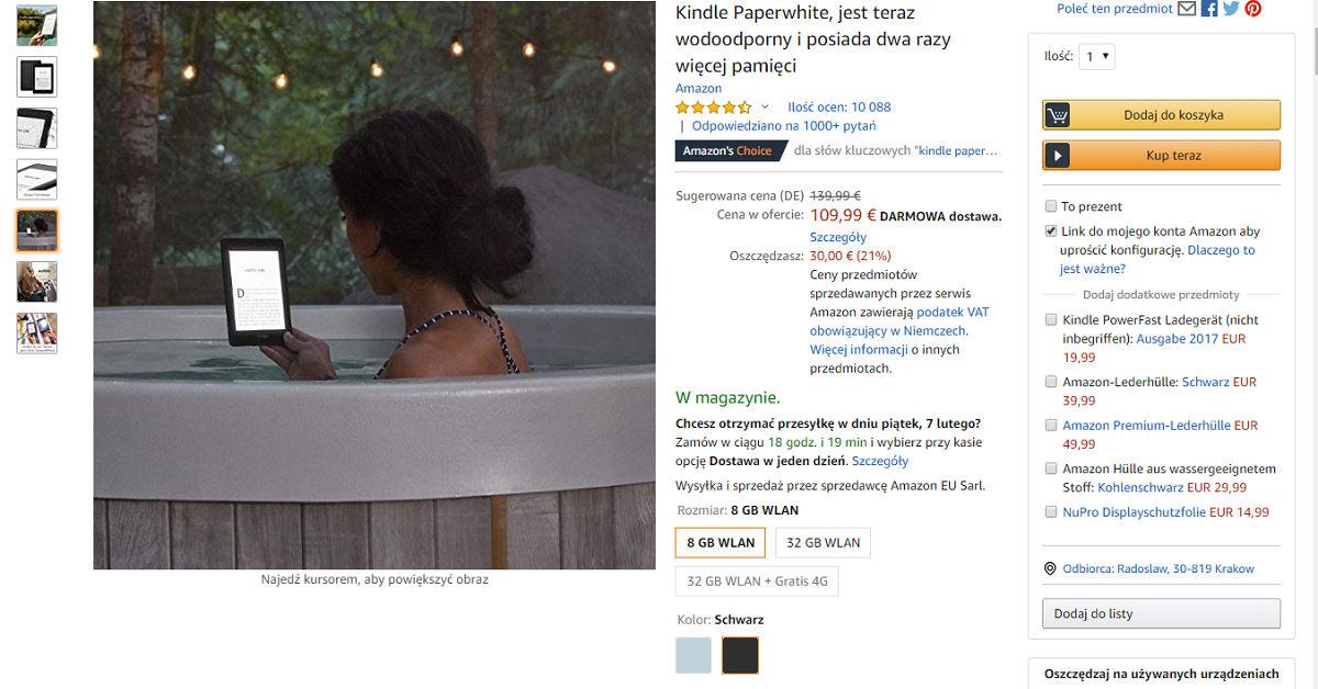 Kindle Paperwhite 4 w walentynkowej promocji w Amazon.de