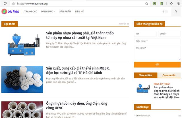 Website công ty chế tạo máy nhựa, máy đùn ống, máy hạt nhựa, máy ép nhựa